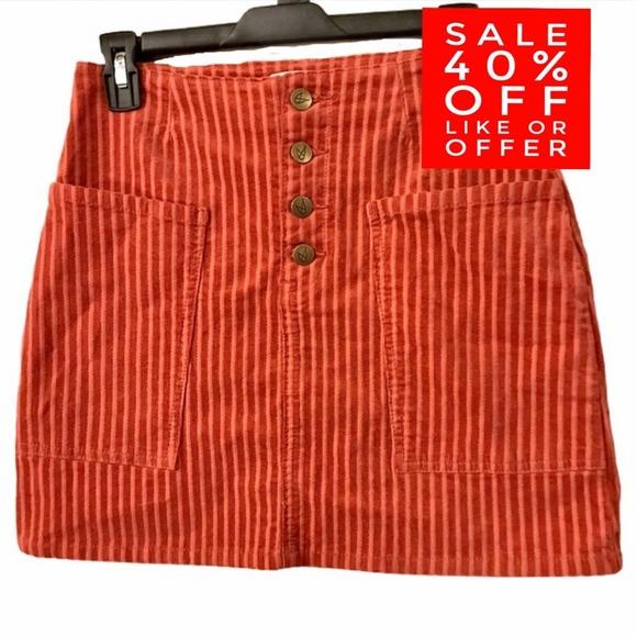 MPD MINKPINK Striped Orange Corduroy Skirt Small
